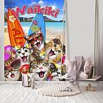 Waikiki Cats Surfers Selfie Wallpaper Mural (12852V4A)