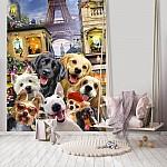 Dogs in Paris Group Selfie Wallpaper Mural (12859V4A)