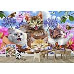 Cats Among Flowers Selfie Wallpaper Mural (12876VE)