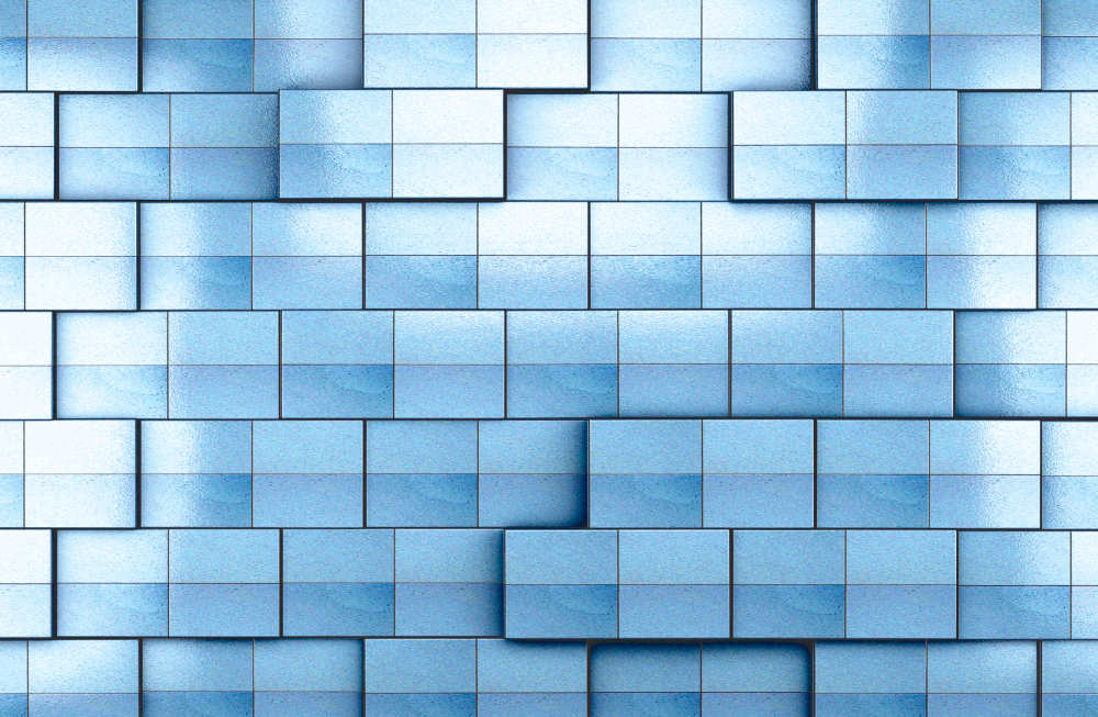 Wall Mural 3d Blue Tile Wall Background (18586368)