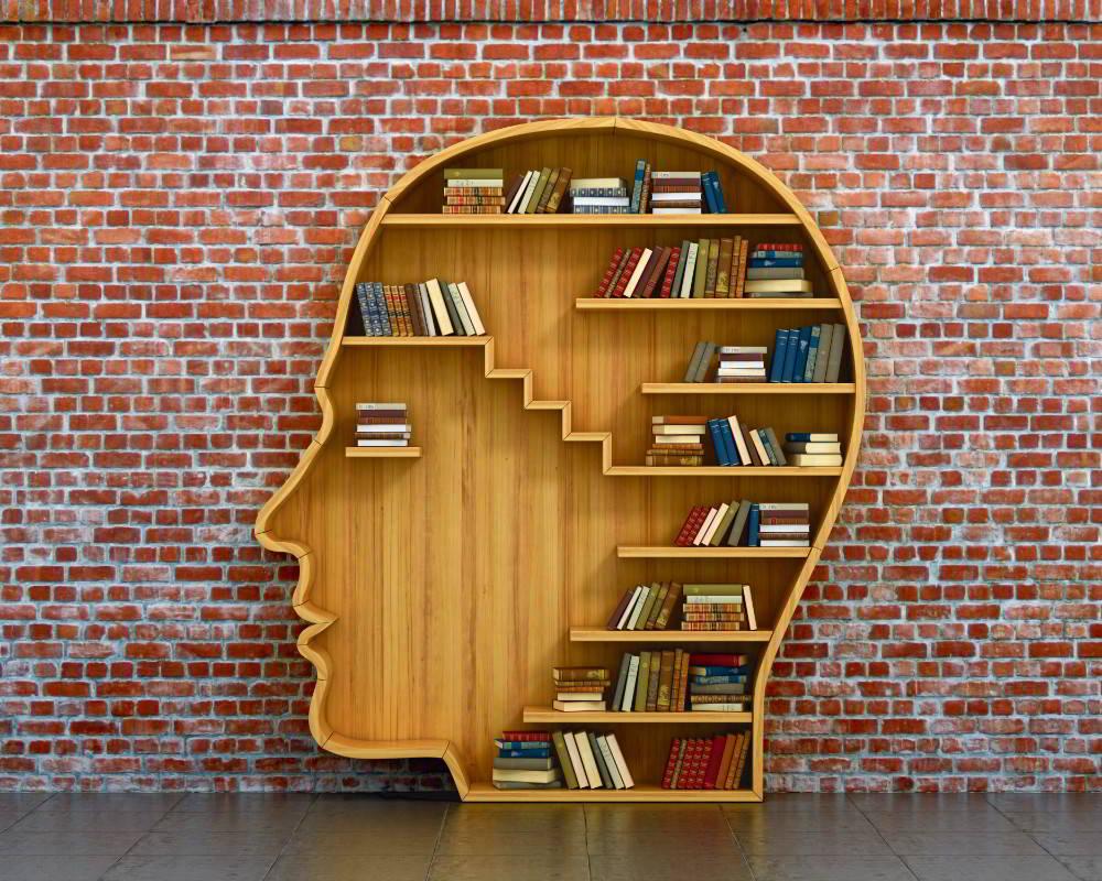 Wallpaper Mural Man Head Bookshelf (45727447)