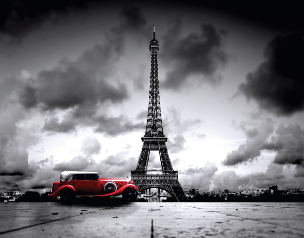 Photo wall mural Eiffel tower and retro car