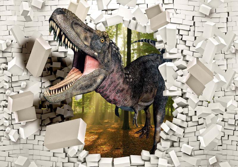 3D Dinosaur Bursting Through Brick Wall Photo Wallpaper Mural (11462VE)