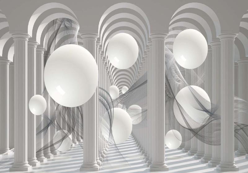 3D Columns Optical Illusion Photo Wallpaper Mural (3048VE)