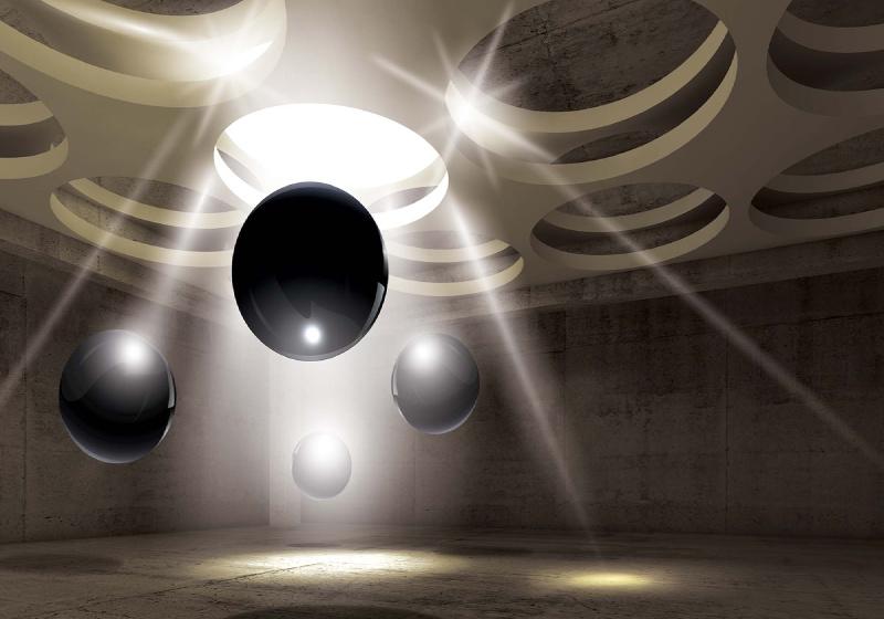 3D Modern Design Black Spheres Photo Wallpaper Mural (3320VE)