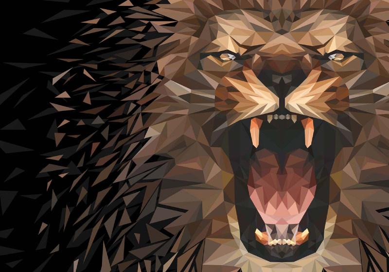 Polygon Lion Dark Colours Wallpaper Mural (11561VE)